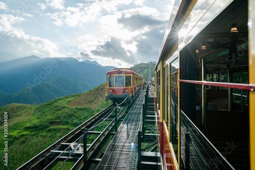 Tourist mountain tram to Fansipan mountain in Sapa, Vietnam