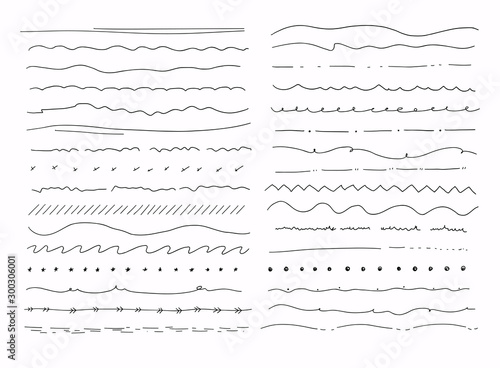 Obraz Big set of hand drawn line borders, scribble strokes and design elements isolated on white. - fototapety do salonu