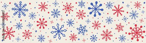 Fototapeta Christmas decoration with snowflakes. Banner with Xmas ornaments obraz na płótnie
