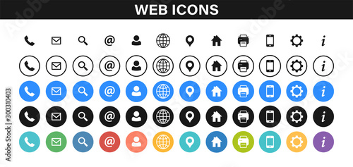 Set of Business Card icons Canvas Print