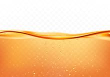 Orange Liquid Splash With Bubb...