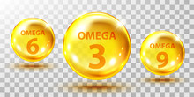 Gold Fish Oil Pills Isolated On Transparent. Omega 3, 6 And 9 Gel Capsule. Jelly Fish Oil Tablet.