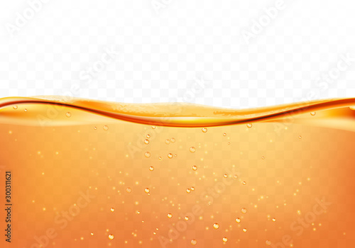 Orange liquid splash with bubbles of air, isolated on the transparent background. Vector illustration - 300311621