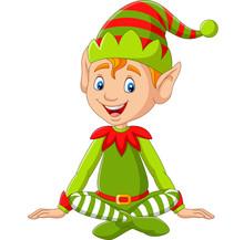Cartoon Happy Christmas Elf Sitting
