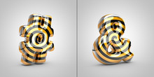 Black With Gold Spiral Pattern Hashtag And Ampersand Symbols Isolated On Black Background