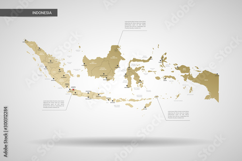Stylized vector Indonesia map Canvas Print
