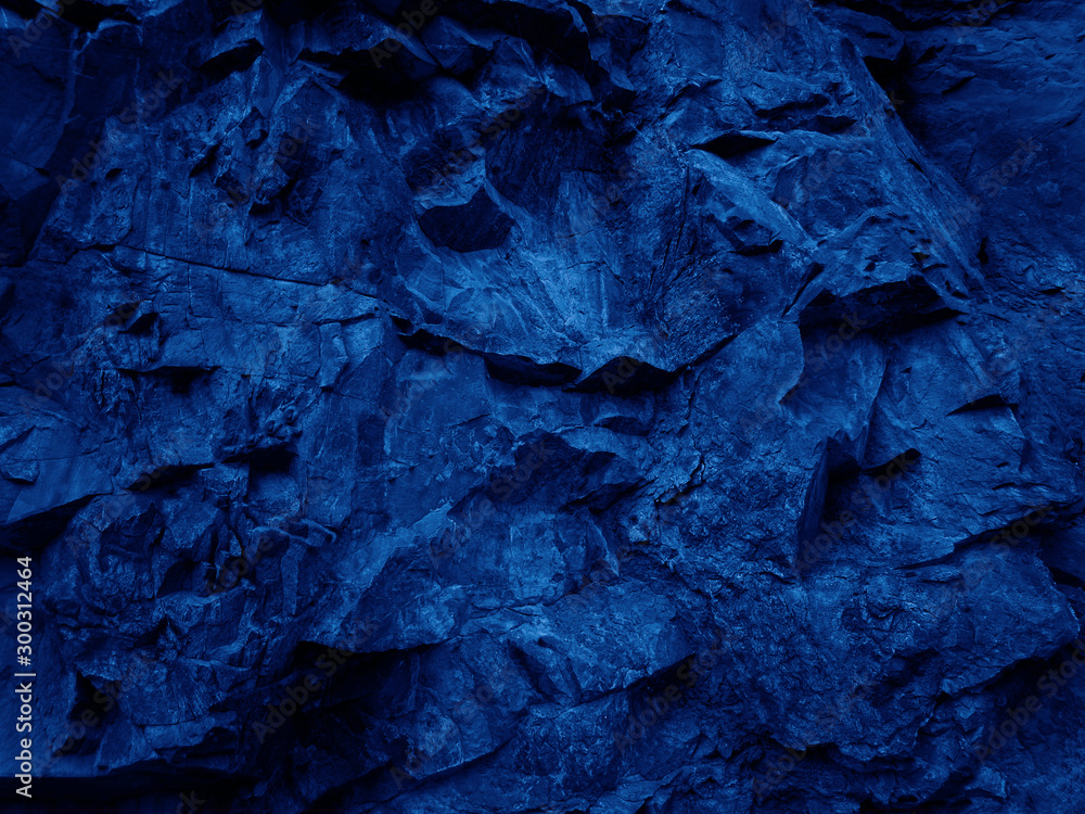 Fototapety, obrazy: Dark blue abstract stone background. Navy blue rock backdrop. Mountain close-up.