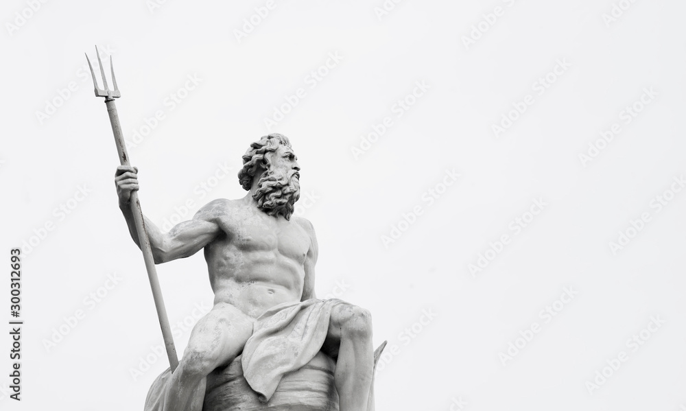 Fototapeta Powerfull mighty god of the sea and oceans Neptune (Poseidon) The ancient statue.