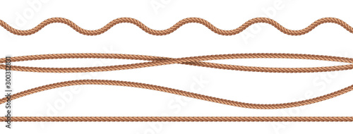 Fotografie, Obraz collection of various ropes string on white background