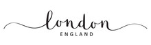 LONDON, ENGLAND Black Vector Brush Calligraphy Banner