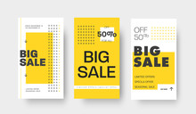 Set Of Vector Story Templates For Big Sale, Special Offers. Template With Yellow And Black Arrows And Text.