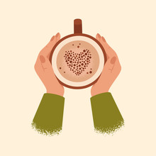 Female Hands Holding Cup Of Coffee Isolated From Background. Winter And Autumn Cozy Concept With Cocoa In Big Mug. Vector Illustration