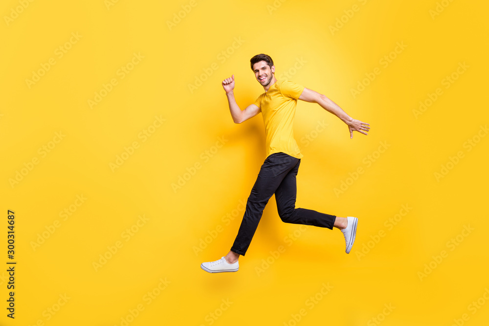 Fototapety, obrazy: Full length body size view of his he nice attractive sportive cheerful cheery guy running fast motivation isolated over bright vivid shine vibrant yellow color background
