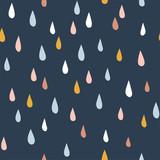 Różne krople deszczu. Styl rysowania dla dzieci. Dziecinne skandynawskie tło. Płaska konstrukcja. Ręcznie rysowane kolorowy wektor wzór. Nowoczesne, modne ilustracje do tkanin, tekstyliów, tapet, notatników - 300315276