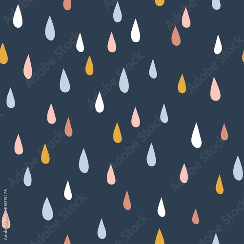 fototapeta na ścianę Various raindrops. Kids drawing style. Childish scandinavian backdrop. Flat design. Hand drawn colored vector seamless pattern. Modern trendy illustration for fabric, textile, wallpaper, scrapbook