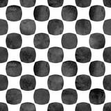 Bezszwowy geometryczny wzór z grunge akwareli okręgu czerni abstrakcjonistycznym kształtami na białym tle. - 300316243