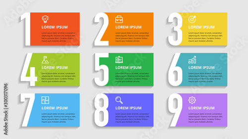 Fotografia Nine colorful numbers or figures and rectangular elements or cards with place for text