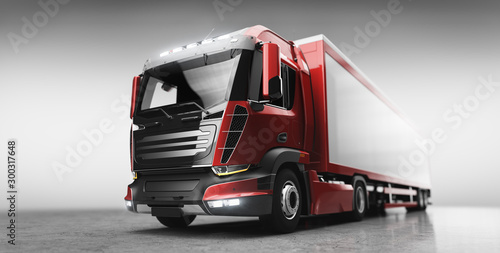 Fotografiet Truck with cargo trailer. Transport, shipping industry.