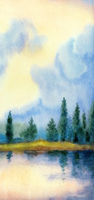 Watercolor Landscape. Trees By...