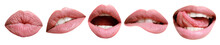 Collage With Female Lips On White Background