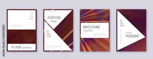 Stylish brochure design template set. Orange abstr