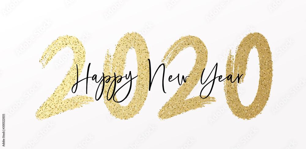Szczęśliwego Nowego Roku 2020 z kaligrafią i pędzlem pomalowanym efektem brokatu i brokatu. Tło ilustracji wektorowych na Sylwestra i nowy rok uchwał i szczęśliwych życzeń <span>plik: #300322835 | autor: Pedro</span>