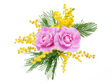 Mimosa And Roses Flowers Branc...