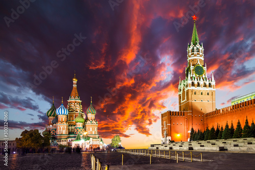 Red Square, Moscow Kremlin at sunset. Moscow, Russia Canvas Print