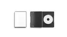 Blank White Opened And Closed Dvd Disk Case Mockup, Top