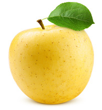 Yellow Apple Isolated On White Background, Clipping Path, Full Depth Of Field
