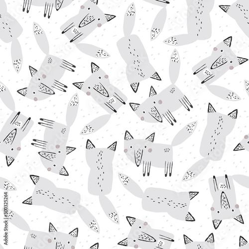 śmieszne wilki na tle śniegu. Wektor wzór. Projekt przyrody.