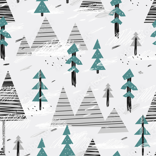 Cute seamless pattern with mountains and trees Fototapet