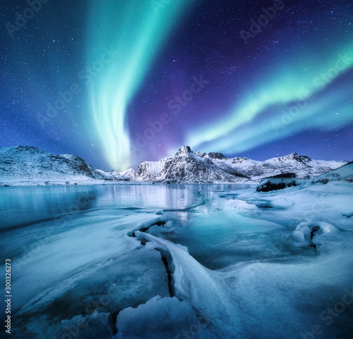 Canvastavla Aurora Borealis, Lofoten islands, Norway