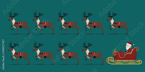 Valokuvatapetti Set of Santa and his reindeer