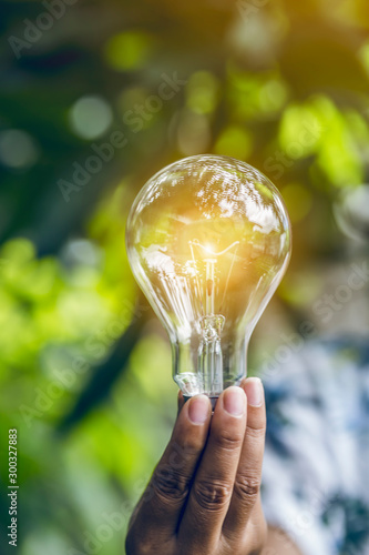 hand holding light bulb against nature, icons energy sources for renewable, Canvas Print