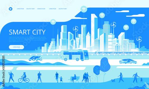 Fotomural Smart city concept People on street Transportation