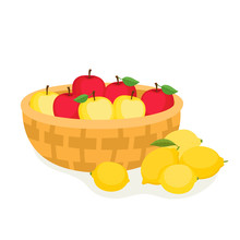 Cartoon Apples In Basket And Lemons Isolated On White.