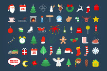 Cute Christmas Icon Set. Collection Of New Year Decoration Stuff