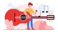 Vector Illustration Of Guitari...