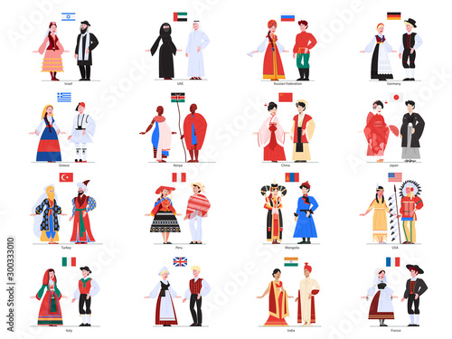 Tablou Canvas Vector illustration of multiculture people standing in their national costumes