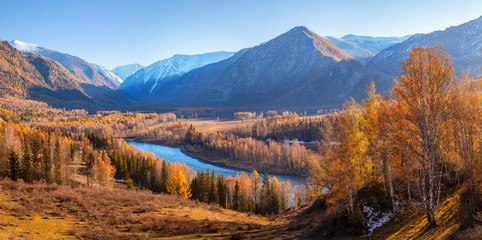 Katun river valley in the Altai mountains. Picturesque autumn view, indian summer.