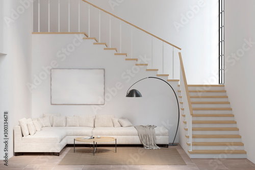 White living room with sofa, blank canvas, coffee table, lamp, and stairs Canvas Print