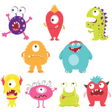 Set Of Cute Silly Monsters With Different Emotions - Happy, Smiling, Surprised, Angry, Anxious And Foolish.