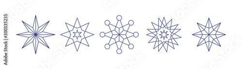 Cuadros en Lienzo weihnachtliche Sterne linear gezeichnet- Set mit 5 icons
