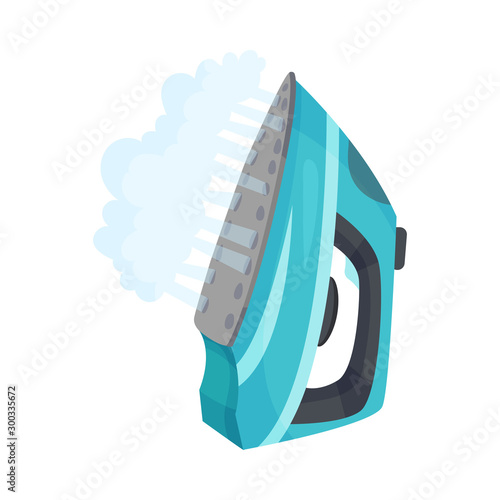 Blue iron with steam. Vector illustration on a white background.