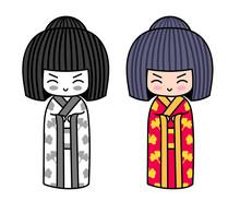 Kawaii Little Traditional Kokeshi Dolls. Japanese Girls In Kimono. Vector Illustrations.