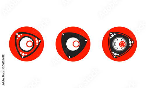 rotary engine rotor set of icons or logos in red and black Canvas Print