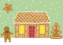 Christmas Card With Gingerbread House