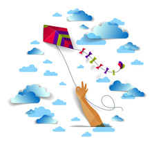 Hand Holding Kite Over Cloudy Sky, Freedom And Easiness Emotional Concept, Vector Modern Style Paper Cut 3d Illustration.