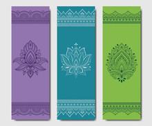 Set Of Design Yoga Mats. Flora...
